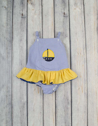 Yellow Sailboat Applique One-Piece Swimsuit - Girls - Stellybelly