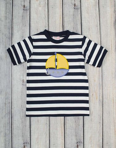 Yellow Sailboat Applique Boys T-Shirt - Boys - Stellybelly