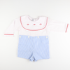 Embroidered Santa Blue Stripe Boy Shirt & Short Set