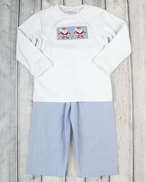 Smocked Blue Santa Boys Pant Set - Boys - Stellybelly - 1