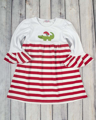 Santa Gator App Knit Dress - Girls - Stellybelly - 1