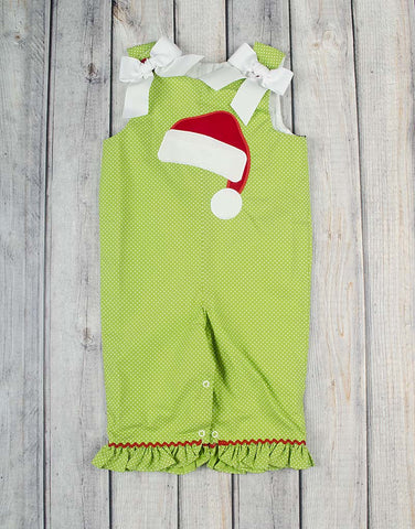 Santa Hat Applique Ruffle Romper - Girls - Stellybelly - 1