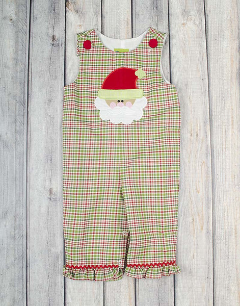 Santa Plaid Applique Ruffle Romper - Girls - Stellybelly