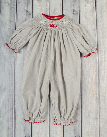 Smocked Reindeer Sleigh Long Bubble - Girls - Stellybelly