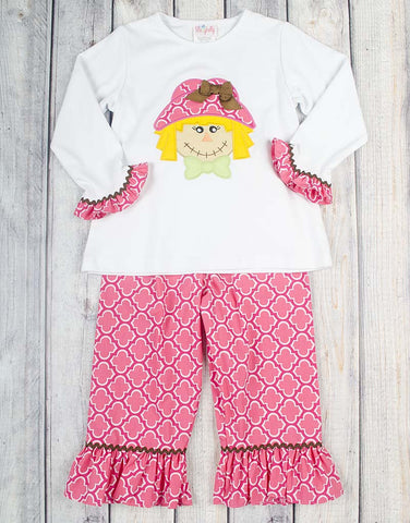 Pink Scarecrow Applique Ruffle Pant Set - Girls - Stellybelly - 1