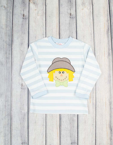Blue Scarecrow Applique LS T-Shirt - Boys - Stellybelly - 1