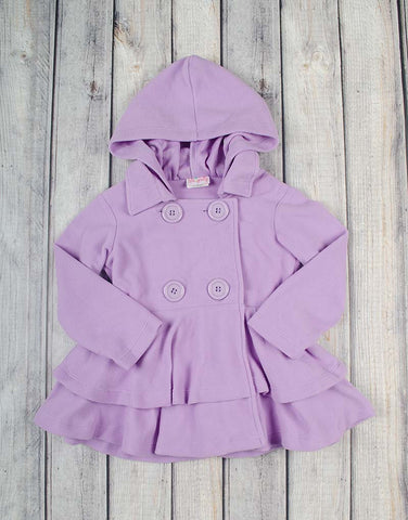 Sheer Lilac Fleece Peacoat - Girls - Stellybelly