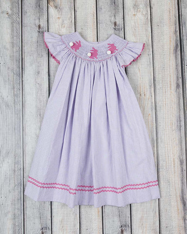 Smocked Bunny Silhouette Bishop - Girls - Stellybelly - 1