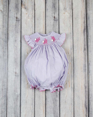 Smocked Bunny Silhouette Bubble - Girls - Stellybelly - 1