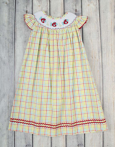 Smocked Plaid Fish Bishop - Girls - Stellybelly - 1