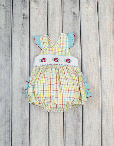Smocked Plaid Fish Ruffle Bubble - Girls - Stellybelly - 1