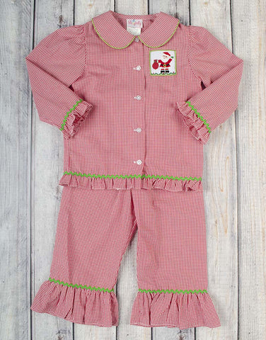 Smocked Jolly Santa Girls Ruffle Loungewear - Girls - Stellybelly - 1