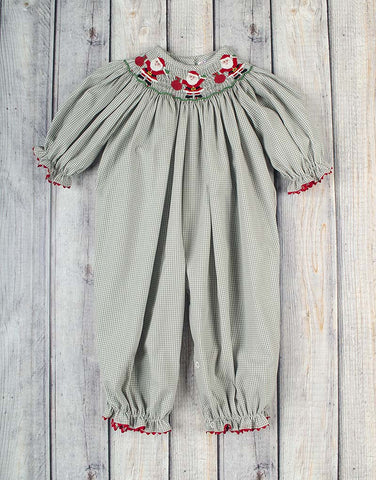 Smocked Jolly Santa Long Bubble - Girls - Stellybelly - 1
