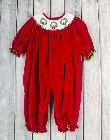Smocked Red Wreath Long Bubble - Girls - Stellybelly - 1