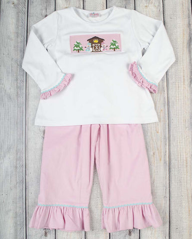 Smocked Snow Barn Girls Pant Set - Girls - Stellybelly - 1