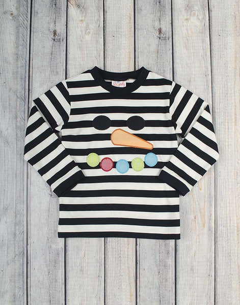 Snowman Face Applique T-Shirt - Boys - Stellybelly - 1