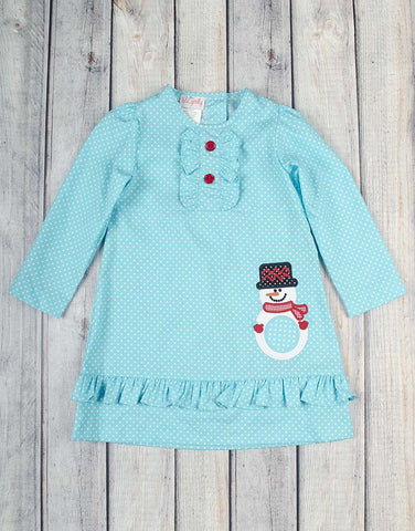 Snowman Mono Presley Ruffle Dress - Girls - Stellybelly - 1
