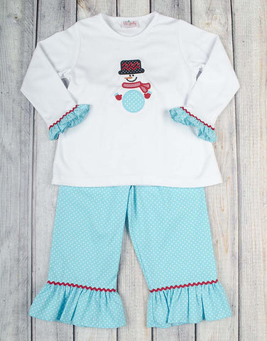 Snowman Mono Ruffle Pant Set - Girls - Stellybelly - 1