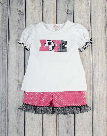 Soccer Love Applique Short Set - Girls - Stellybelly - 1