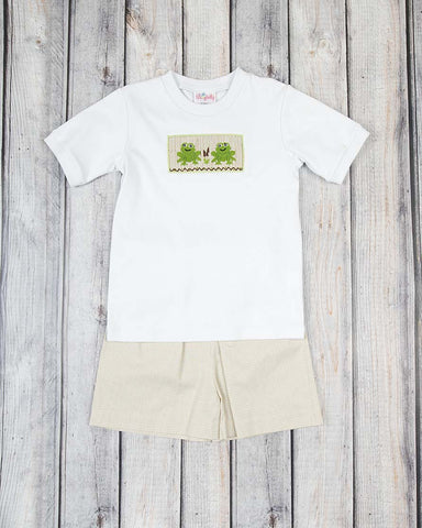 Smocked Summer Frog Short Set