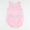 Embroidered Pink Bunny Sleeveless Set