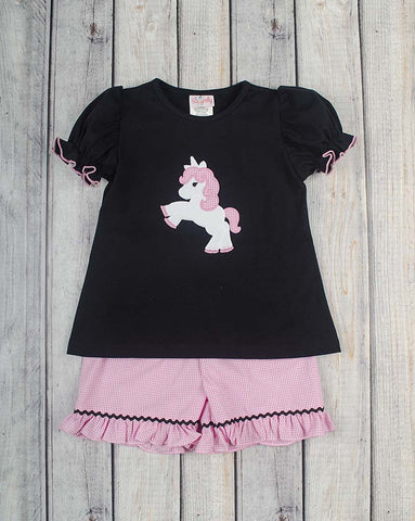 Unicorn Applique Ruffle Short Set - Girls - Stellybelly - 1