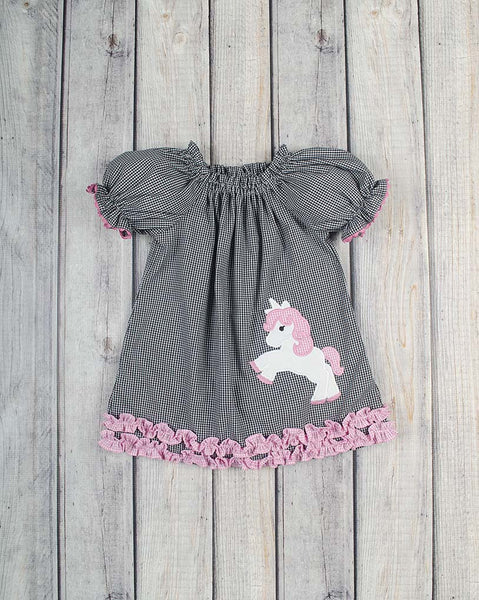 Unicorn Applique Stella Puff Sleeve Dress - Girls - Stellybelly - 1