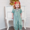 Smocked Santa Face Gingham Long Bubble