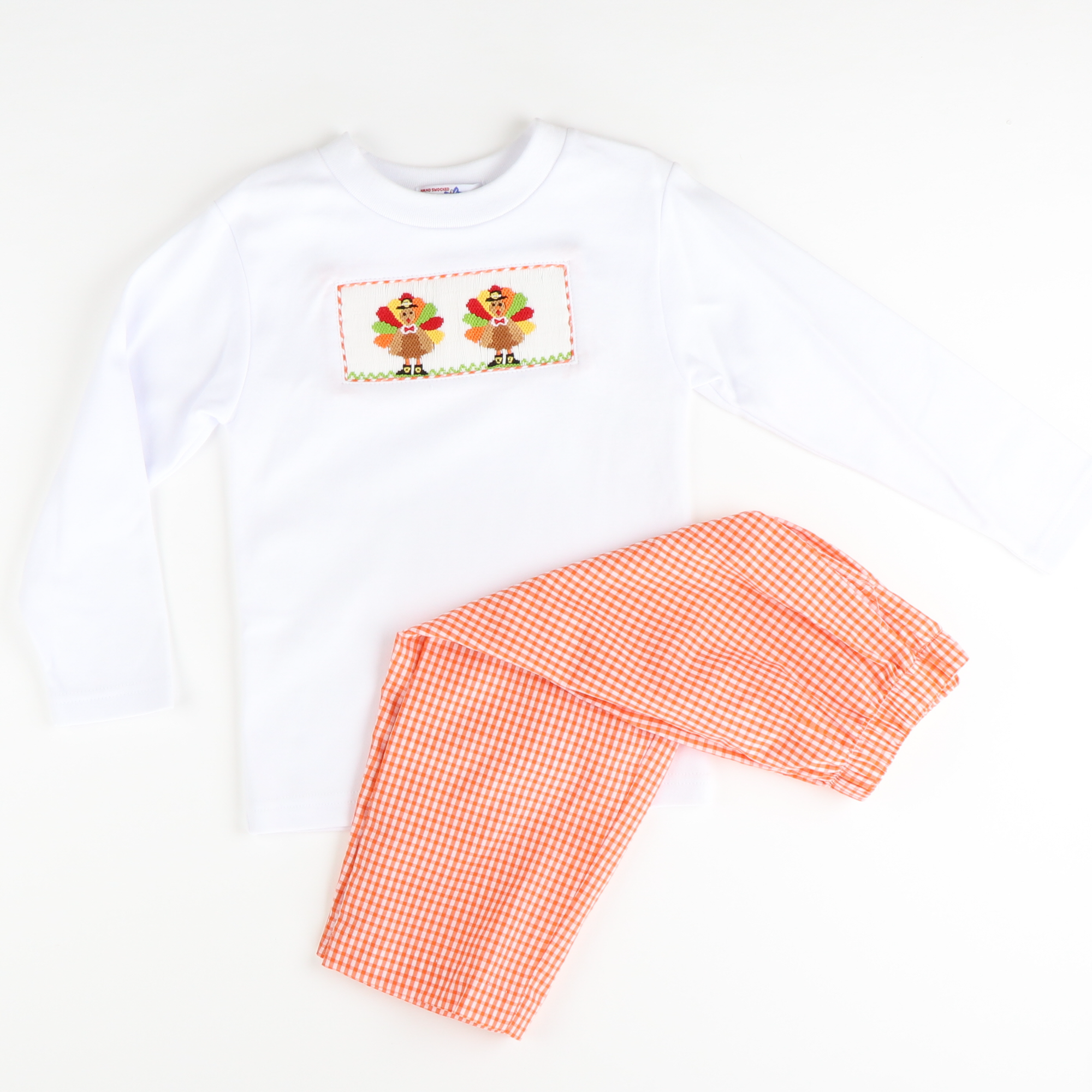 Smocked Turkeys Shirt & Pants Set - Orange Check