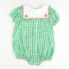 Embroidered Pumpkins Girl Bubble - Green Check