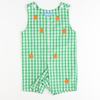 Embroidered Pumpkins Shortall - Green Check