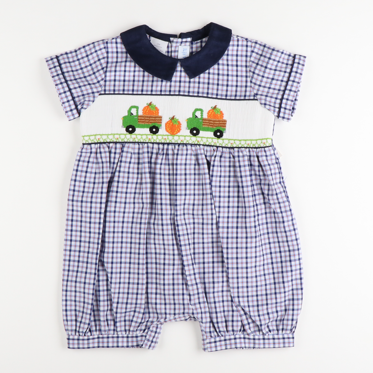 Smocked Trucks with Pumpkins Boy Bubble - Navy Blue and Orange Plaid