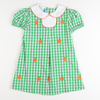 Embroidered Pumpkins Pleated Dress - Green Check