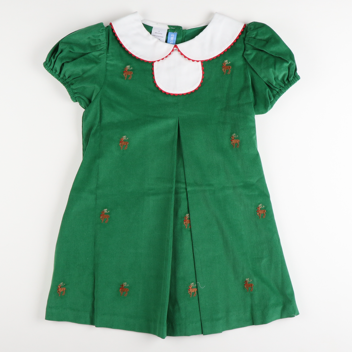 Embroidered Reindeer Pleated Dress - Green Corduroy