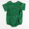 Embroidered Reindeer Boy Bubble - Green Corduroy