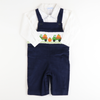 Smocked Trucks & Pumpkins  Longall & Shirt Set - Navy Corduroy