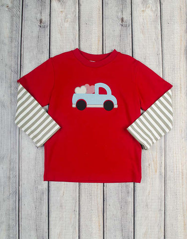 Heart Truck Applique LS T-Shirt - Boys - Stellybelly - 1