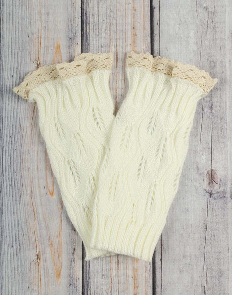 Ivory Lace Boot Cuffs - Girls - Stellybelly - 1