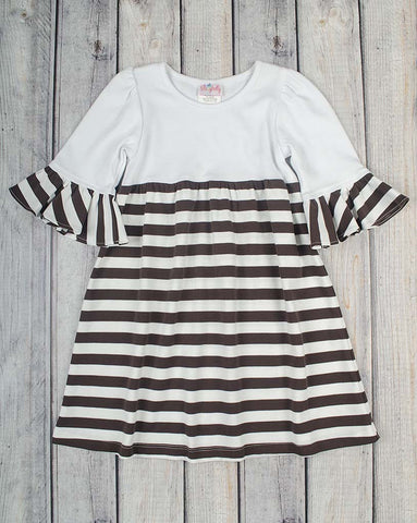 White/Brown Stripe Knit Kelly Dress - Girls - Stellybelly - 1