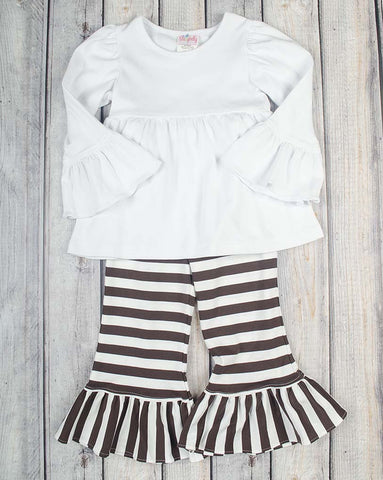 White/Brown Stripe Peyton Pant Set - Girls - Stellybelly - 1