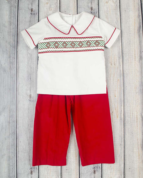 Smocked White Christmas Geo Boys Pant Set - Boys - Stellybelly - 1