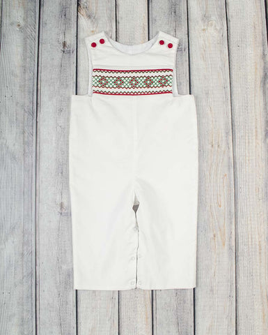 Smocked White Christmas Geo Longall - Boys - Stellybelly - 1
