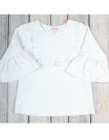 White Knit Jordan Ruffle Shirt - Girls - Stellybelly - 1