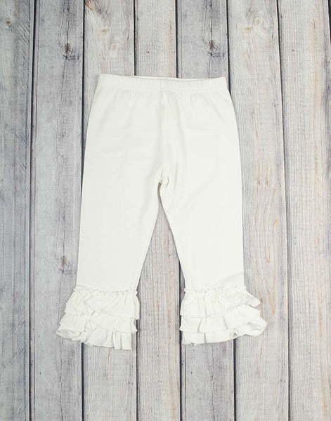 Bright White Knit Ruffle Capri - Girls - Stellybelly