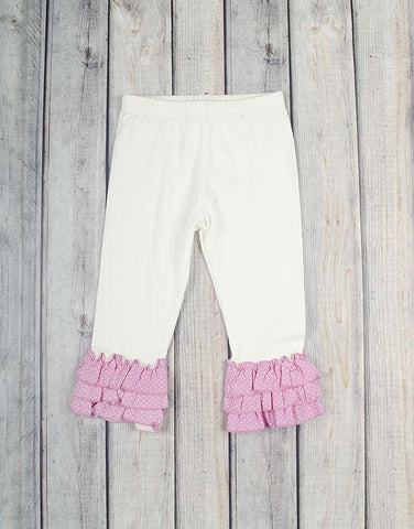 White w/Lt Pink Dot Knit Ruffle Capri - Girls - Stellybelly