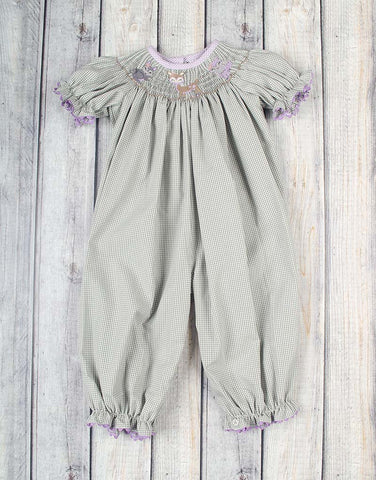 Smocked Woodland Creatures Long Bubble - Girls - Stellybelly - 1