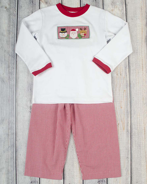 Smocked Christmas Friends Boys Pant Set - Boys - Stellybelly - 1