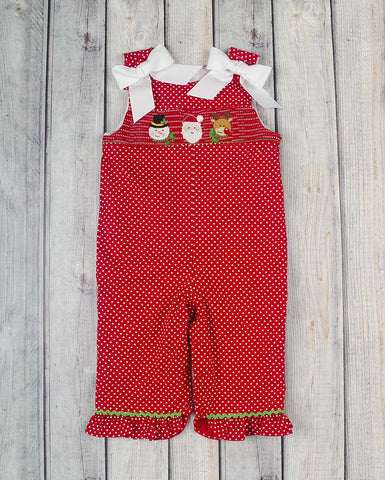 Smocked Christmas Friends Ruffle Romper - Girls - Stellybelly - 1