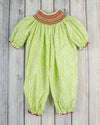 Smocked Christmas Geo Long Bubble - Girls - Stellybelly - 1