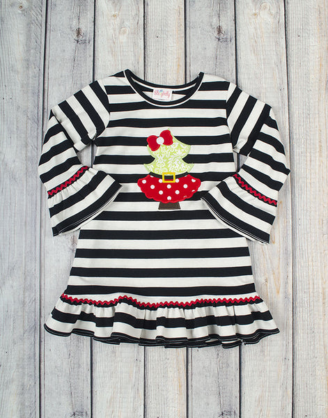 Santa Tree Applique Ruffle Dress - Girls - Stellybelly - 1